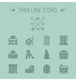 Construction thin line icon set