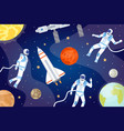 cosmic background with astronauts outer space vector image