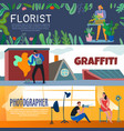 creative workers banners set vector image vector image