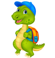 Cute dinosaur with backpack vector image vector image