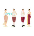 cute thai couple in traditional dress vector image vector image