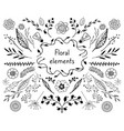 doodle floral elements vector image
