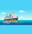fisher people in fishing vessel boat vector image