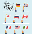 flag in hand round icons set human hands holding vector image vector image