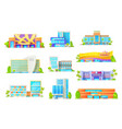 flat buildings hotels and casino architecture vector image vector image