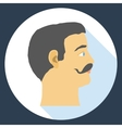 Flat design icon head of a man with a mustache vector image