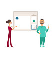 flat doctor with syringe nurse info board vector image vector image