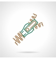 Flat line icon for zipper vector image