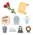 funeral ceremony cemetery coffins priest vector image vector image