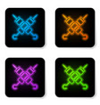 glowing neon crossed grilled shish kebab on vector image vector image