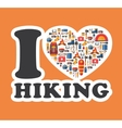 Graphic sticker I love hiking Hiking and camping vector image