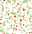 Green Leaves Seeds Floral Spring Seamless Pattern vector image vector image