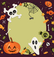halloween cartoon art in flat style green vector image vector image