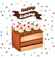 happy birthday celebration card with delicious vector image vector image