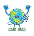 happy globe planet earth and flying airplane vector image