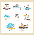 happy janmashtami badges set vector image vector image