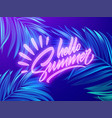 hello summer neon lettering on a background of vector image vector image
