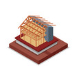house roof and walls framework isometric 3d icon vector image vector image