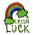 irish luck logo with rainbow and clover vector image vector image
