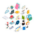 knowledge icons set isometric style vector image vector image