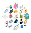knowledge icons set isometric style vector image