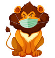 lion cartoon charater wearing mask vector image vector image