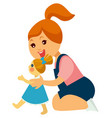 little redhead girl plays with doll in dress vector image