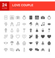love couple line web glyph icons vector image