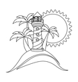 monochrome contour with beach and headlight vector image vector image