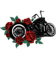 motorcycle bike with roses and peonies vector image vector image