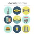 new york flat icon set vector image