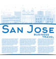 outline san jose skyline with blue buildings vector image vector image