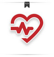 red heart icon with sign heartbeat vector image vector image