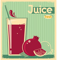 red pomegranate juice on card background vintage vector image vector image