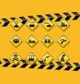 set of smog pollution icon flat design on yellow vector image vector image
