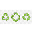 set of three green recycle icons on transparent vector image vector image
