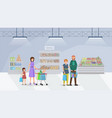 shoppers in supermarket flat vector image