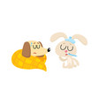 sick baby dog and rabbit having flu fever cold vector image