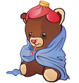 Sick Teddy Bear Cartoon Character vector image vector image