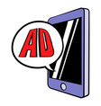 smartphone with ad letters on the screen icon vector image