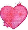 watercolor heart valentines art vector image