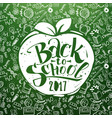 back to school chalkboard with apple vector image