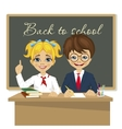 schoolkids at desk sitting in front of blackboard vector image
