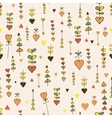 Autumn seamless hand-drawn heart pattern vector image