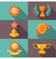 Awards and trophy icons flat vector image