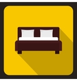 Brown double bed icon flat style vector image vector image