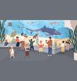 children in oceanarium flat vector image