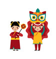 chinese traditional lion dance vector image vector image