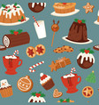 christmas cakes candy and sweets seamless pattern vector image