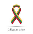 colored ribbon with the lithuanian tricolor vector image vector image